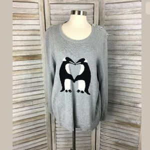 Charter Club Kissing Penguin Sweater Sz XL